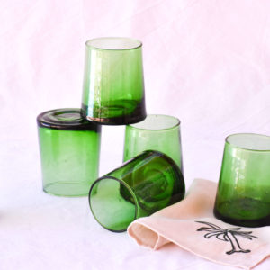Handmade homeware green table setting dinnerware green recycled water glasses