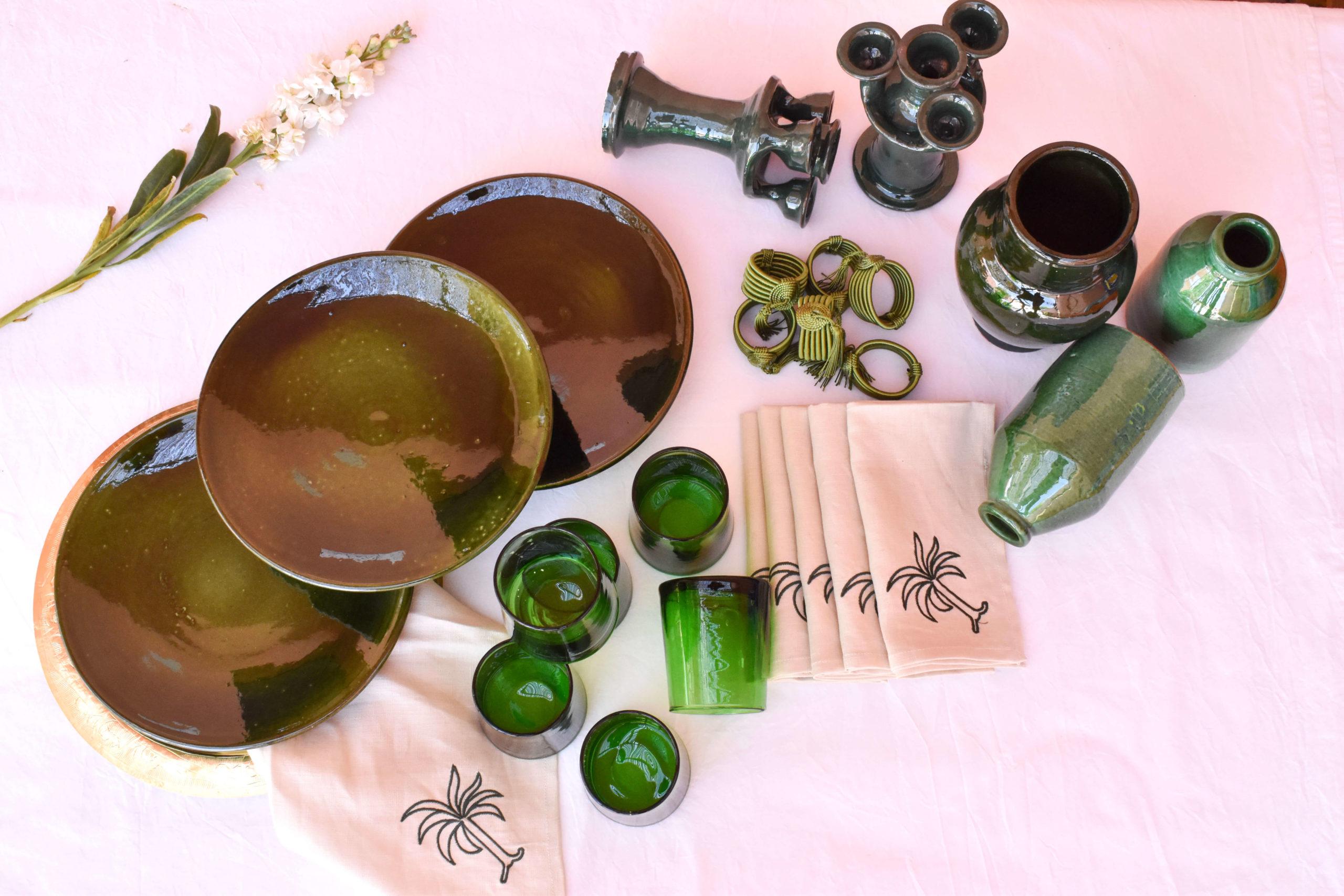Handmade homeware green table setting dinnerware package view