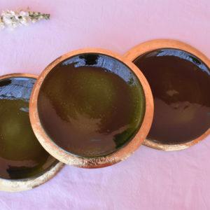 Handmade homeware green table setting dinnerware brass gold underplates and ceramic green plates