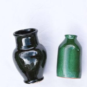 Handmade homeware green table setting dinnerware ceramic green vases