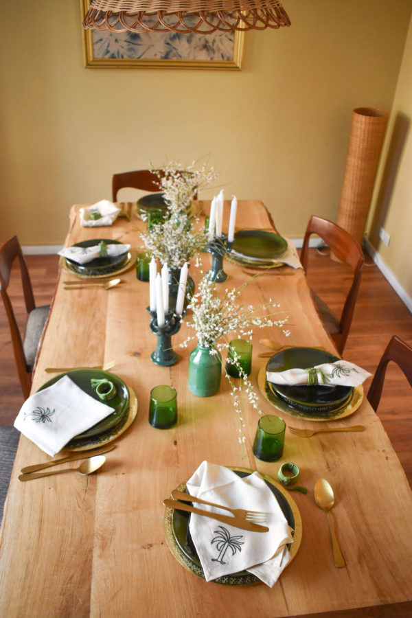 Handmade homeware green table setting dinnerware brass gold underplates and ceramic green plates