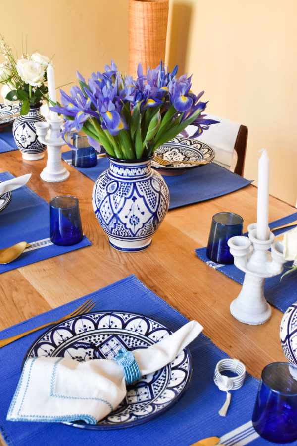 Handmade homeware blue and white table setting dinnerware