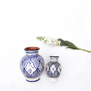 Handmade blue and white table setting dinnerware homeware blue ceramic vases