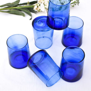 Handmade blue and white table setting homeware dinnerware blue recycled water glasses