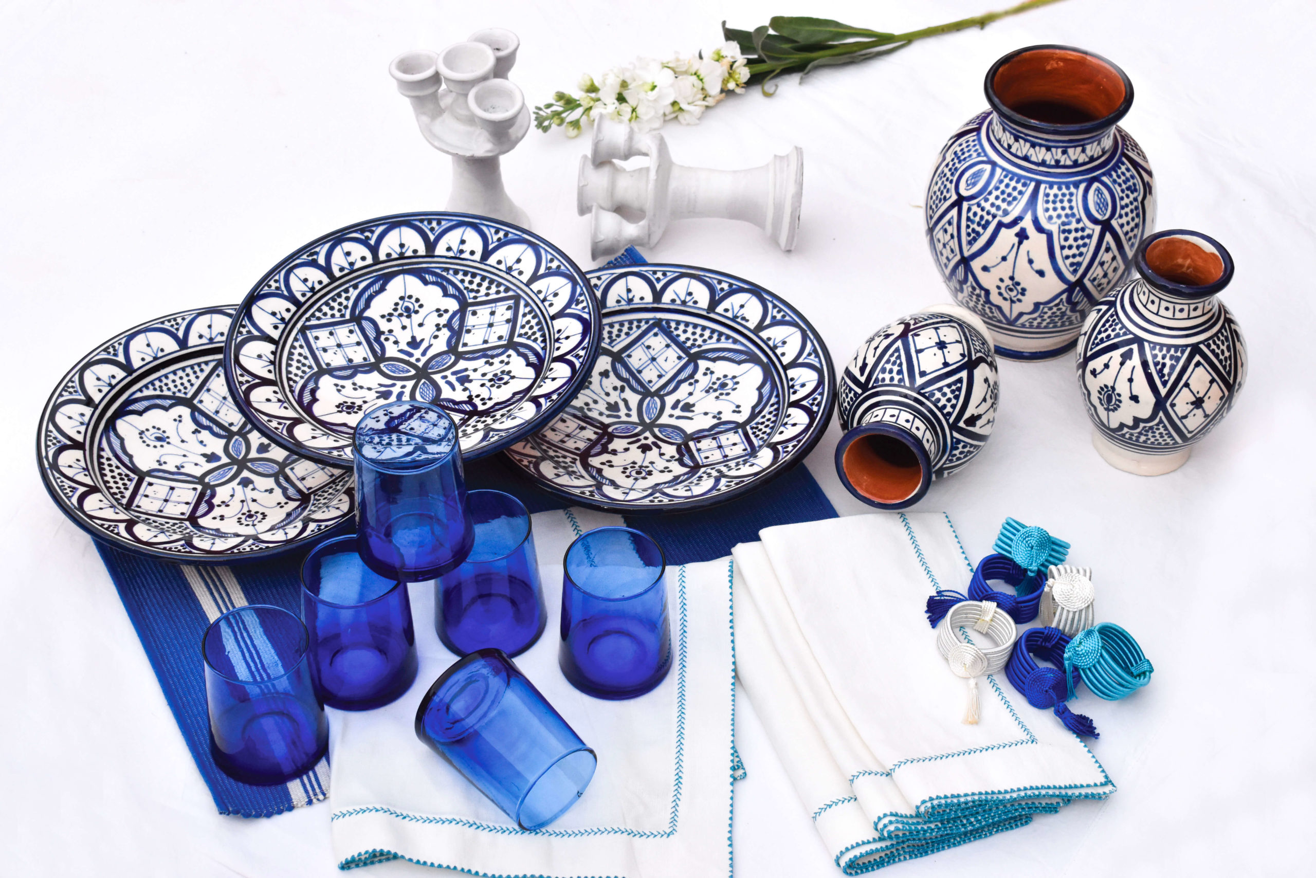 Handmade blue and white table setting dinnerware package view