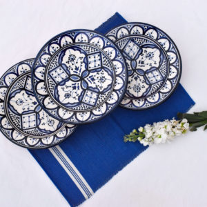 Handmade blue and white table setting dinnerware homeware plates and placemats
