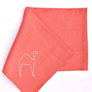 Handmade homeware terracota table setting dinnerware linen camel embroidered napkin