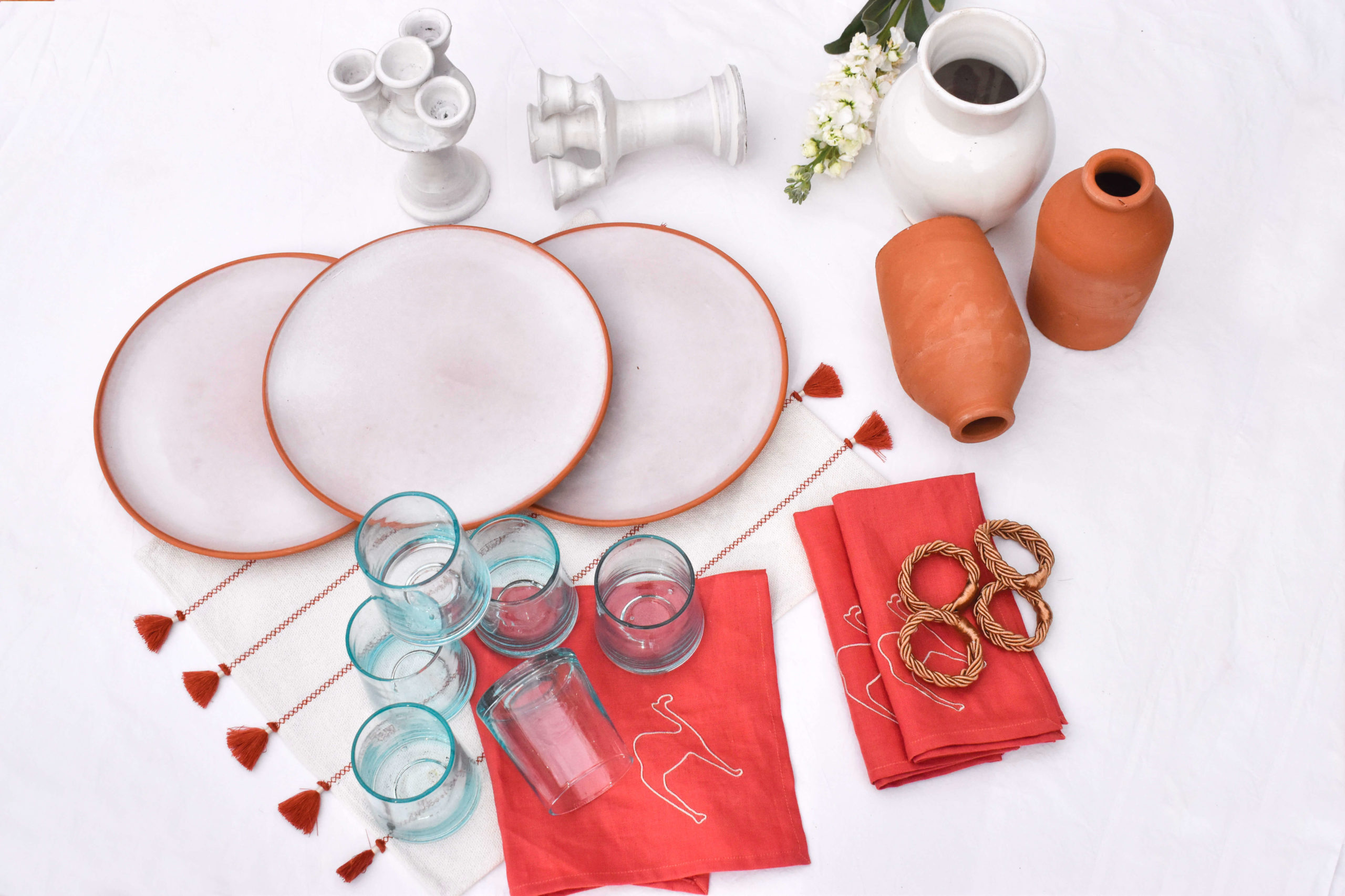 Handmade terracota table setting dinnerware homeware package