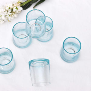 Handmade homeware terracota table setting dinnerware recycled water glasses details